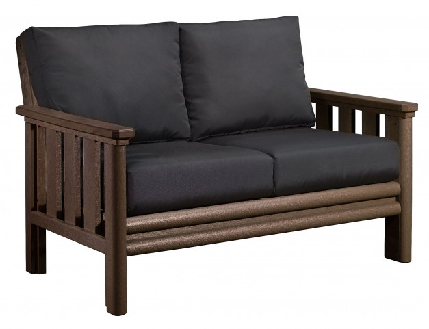 Stratford Chocolate Loveseat With Black Sunbrella Cushions