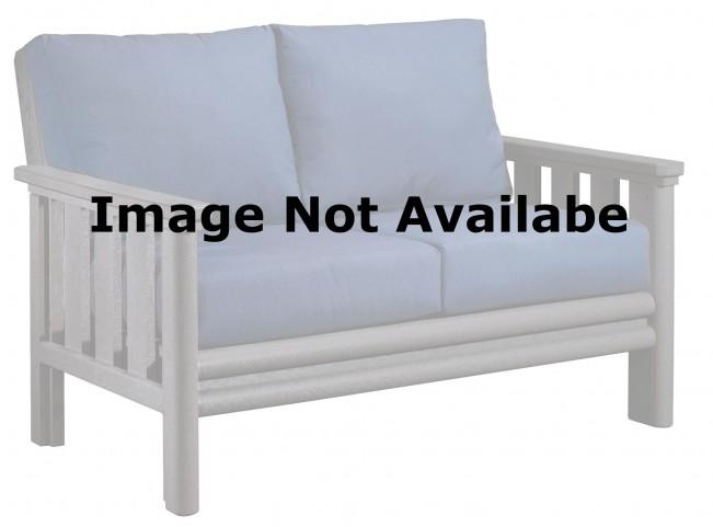 Stratford White Loveseat With Berenson Tuxedo Sunbrella Cushions