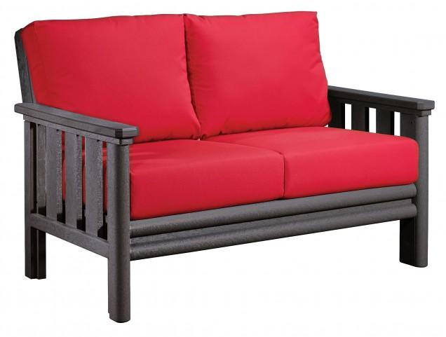 Stratford Slate Gray Loveseat With Jockey Red Sunbrella Cushions
