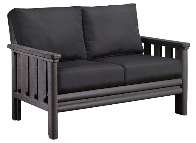 Stratford Slate Gray Loveseat With Black Sunbrella Cushions