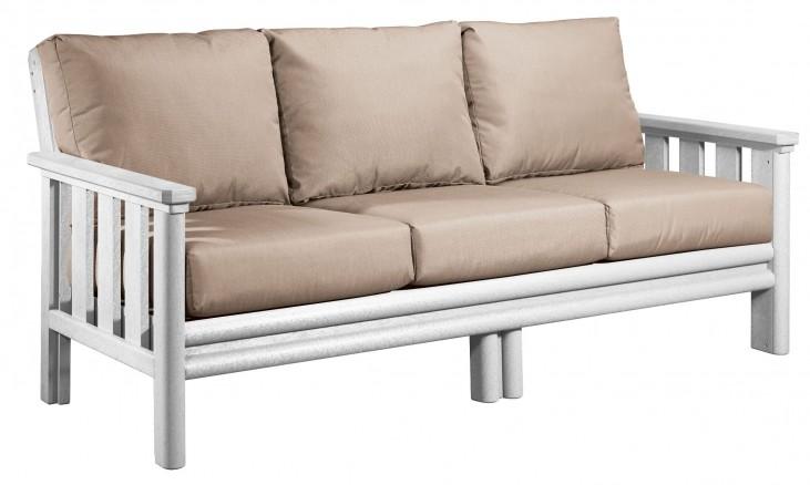 Stratford White Sofa With Beige Sunbrella Cushions