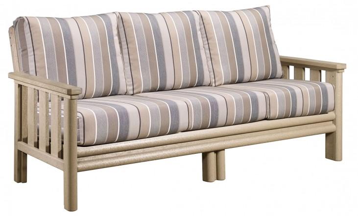 Stratford Beige Sofa With Milano Charcoal Sunbrella Cushions