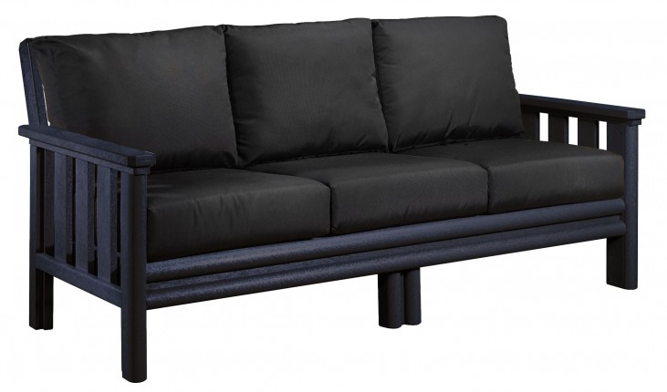 Stratford Black Sofa With Black Sunbrella Cushions