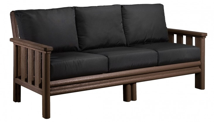Stratford Chocolate Sofa With Black Sunbrella Cushions