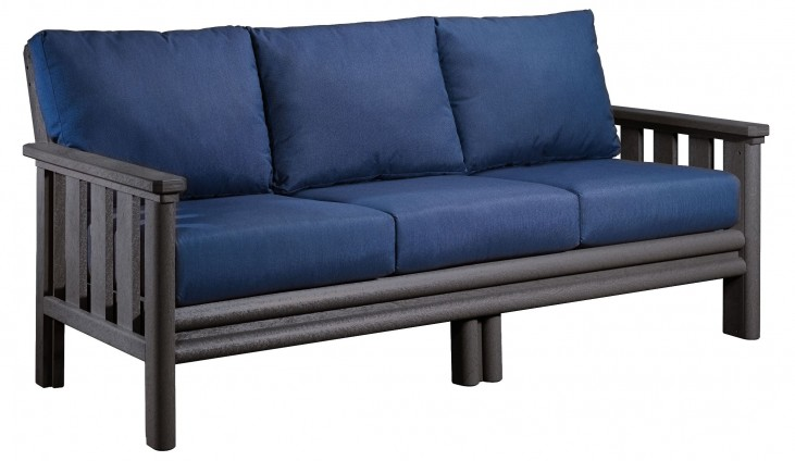 Stratford Slate Gray Sofa With Indigo Blue Sunbrella Cushions
