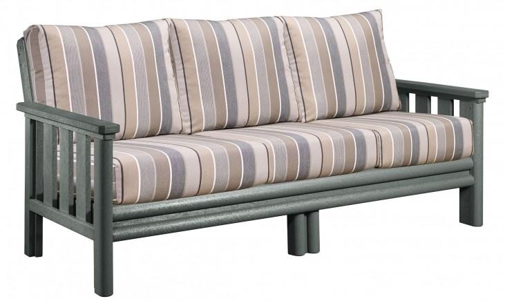 Stratford Slate Gray Sofa With Milano Charcoal Sunbrella Cushions