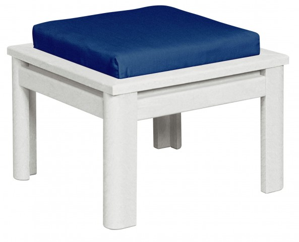 Stratford White Small Ottoman With Beige Cushions