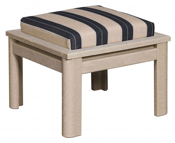 Stratford Beige Small Ottoman With Berenson Tuxedo Cushions