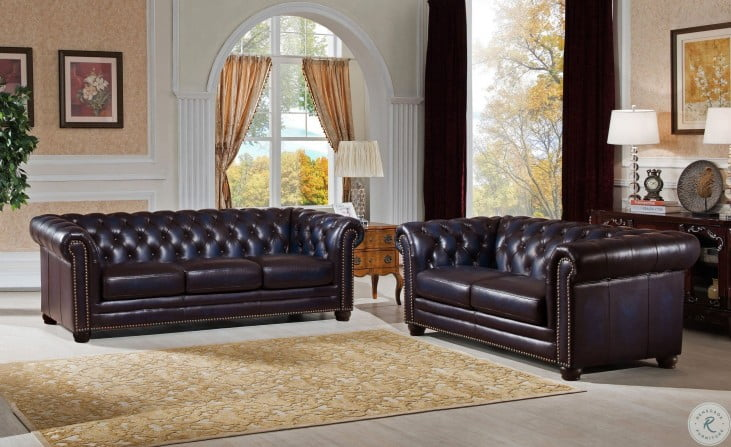 Dynasty Navy Blue Leather Sofa From Amax Leather