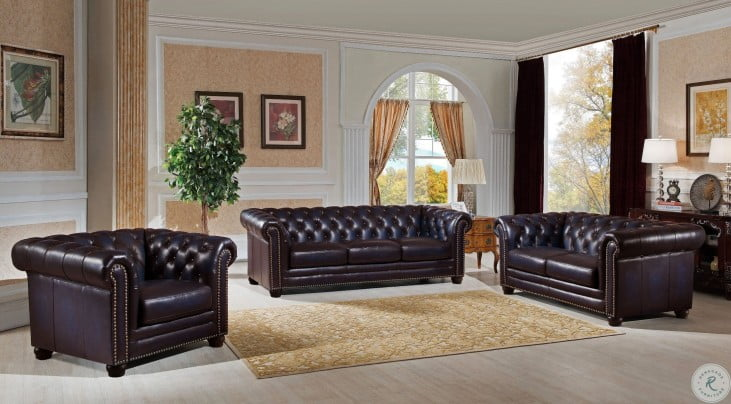 Dynasty Navy Blue Leather Living Room Set