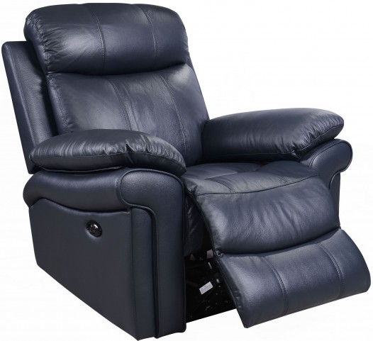 Shae Joplin Blue Leather Power Reclining Chair