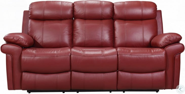 Shae Joplin Red Leather Power Reclining Sofa