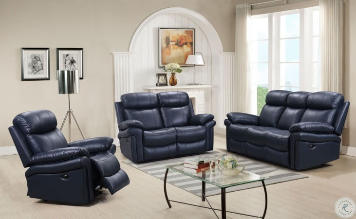 Shae Joplin Blue Leather Power Reclining Living Room Set