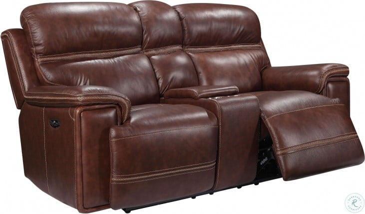 Shae Fresno Brown Leather Power Reclining Console Loveseat