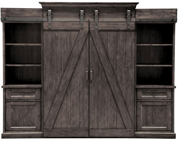 Garrett Distressed Charcoal Entertainment Wall Unit From