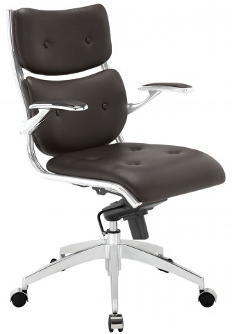 Push Brown Midback Office Chair