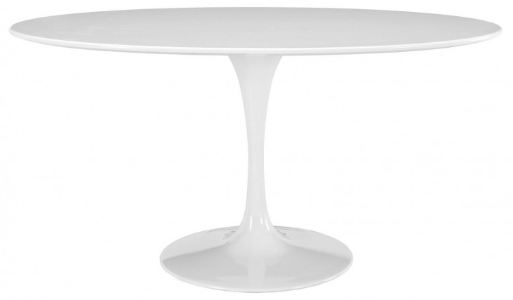 """Lippa White 60"""" Oval-Shaped Wood Top Dining Table"""