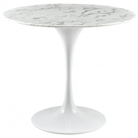 """Lippa White 36"""" Artificial Marble Dining Table"""