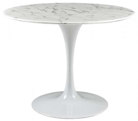 """Lippa White 40"""" Artificial Marble Dining Table"""