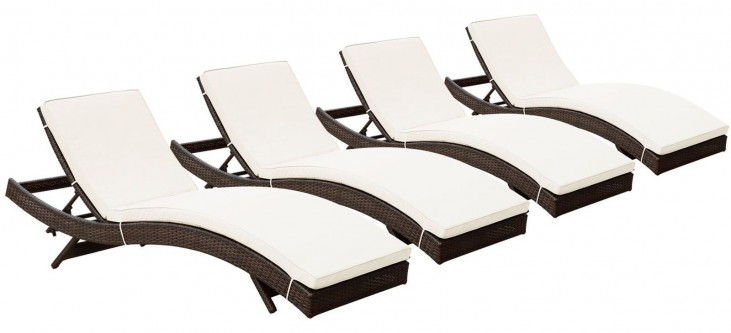 Peer Brown White Outdoor Patio Chaise Set of 4