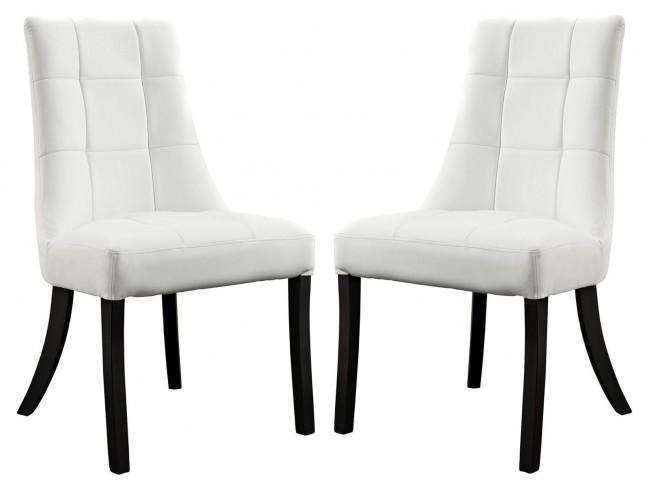 Noblesse White Vinyl Dining Chair Set of 2