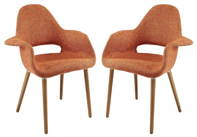 Taupe Orange Dining Armchair Set of 2