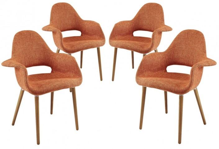 Taupe Orange Dining Armchair Set of 4