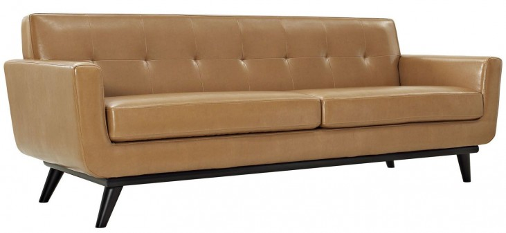 Engage Tan Leather Sofa