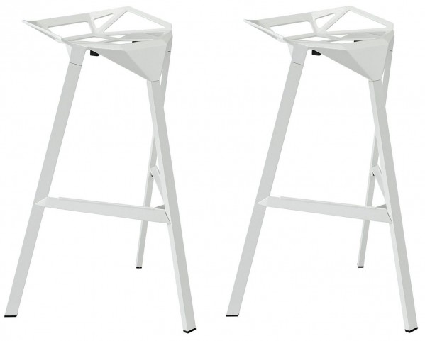 Launch White Stacking Bar Stool Set of 2