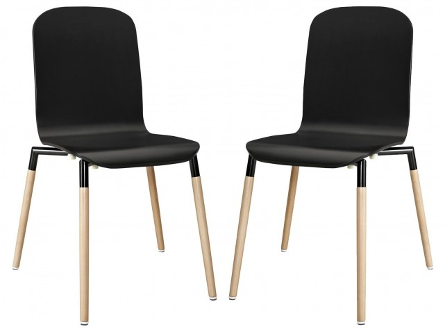 Stack Black Wood Dining Chairs Set of 2