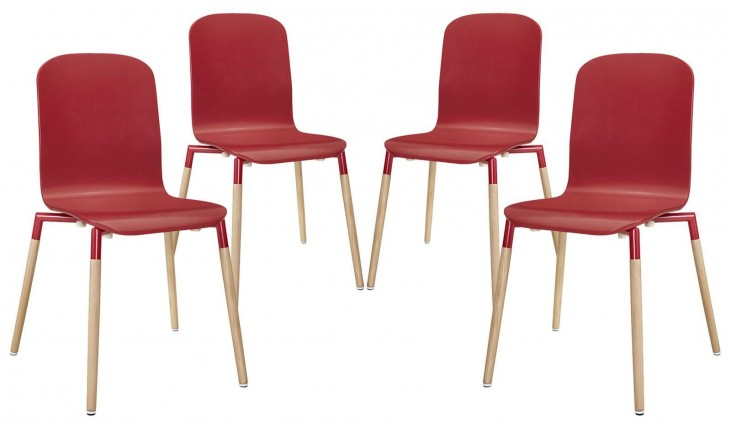 Stack Red Wood Dining Chairs Set of 4
