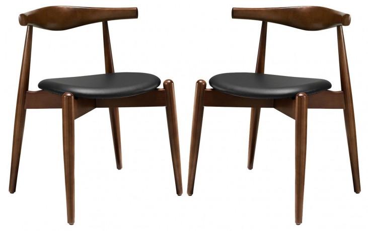 Stalwart Dark Walnut Black Dining Side Chairs Set of 2