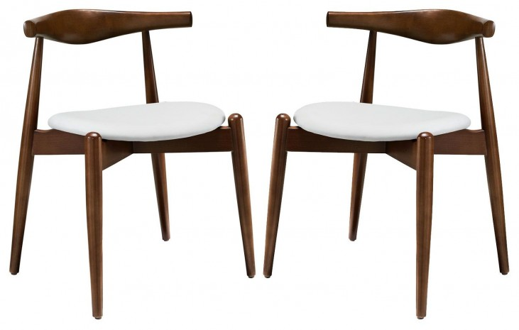 Stalwart Dark Walnut White Dining Side Chairs Set of 2