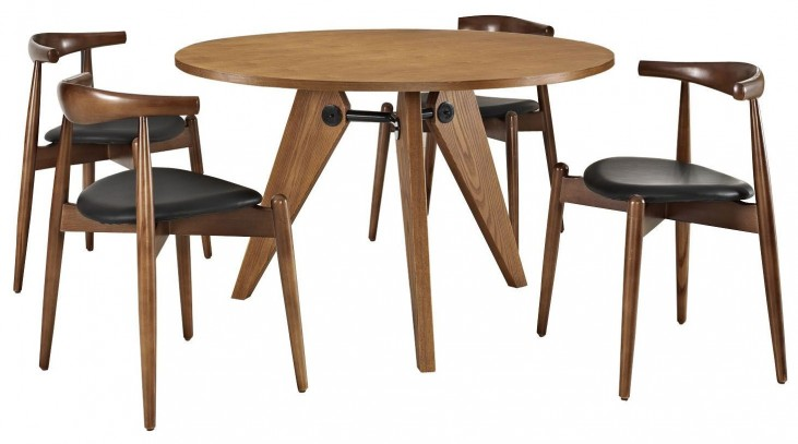 Stalwart Dark Walnut Black Dining Chairs and Table Set of 5