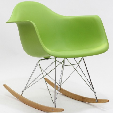 Plastic Molded Rocking Chair in Green