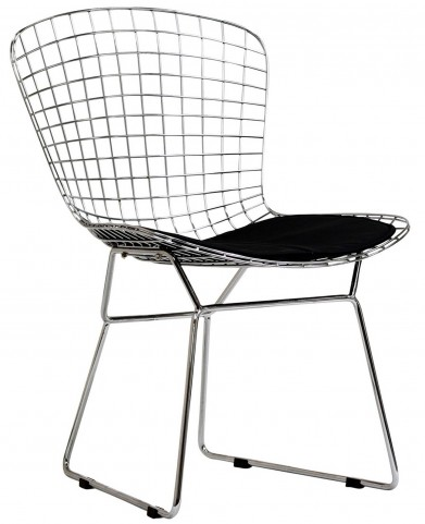 CAD Wire Side Chair in Silver Frame with Black Cushion