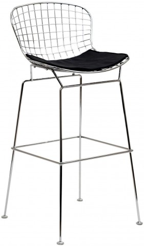 CAD Wire Barstool in Silver Frame with Black Seat Cushion