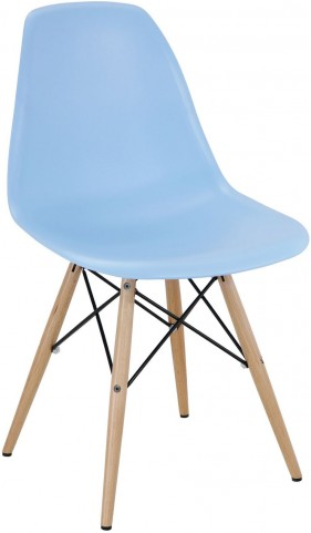 Wood Pyramid Side Chair in Light Blue
