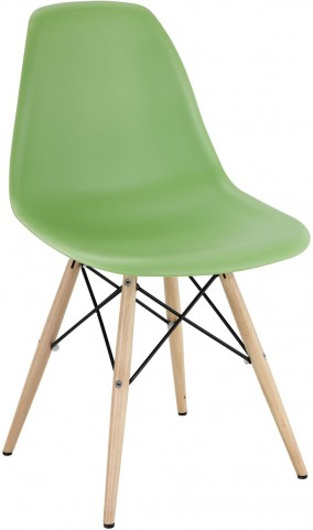 Wood Pyramid Side Chair in Light Green
