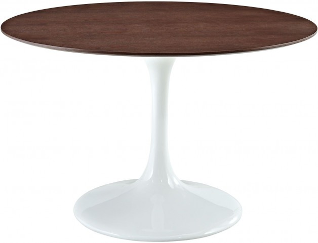 """48"""" Lippa Table in White with Walnut Top"""