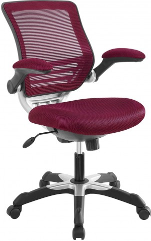 Edge Office Chair with Burgundy Mesh Fabric Seat