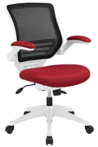 Edge Red White Base Office Chair
