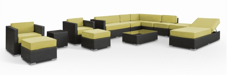 Fusion Outdoor Rattan 12 Piece Set in Espresso with Peridot Cushions