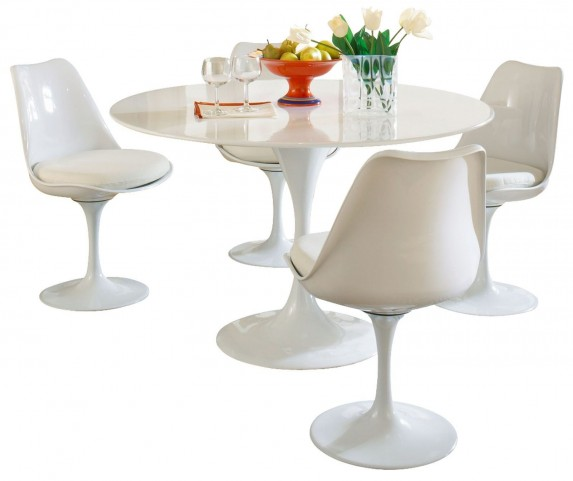 Lippa White 5 Piece Fiberglass Dining Set