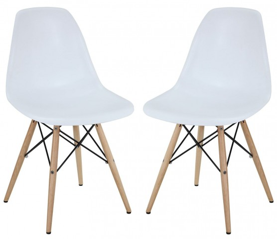 Pyramid White Dining Side Chairs Set of 2