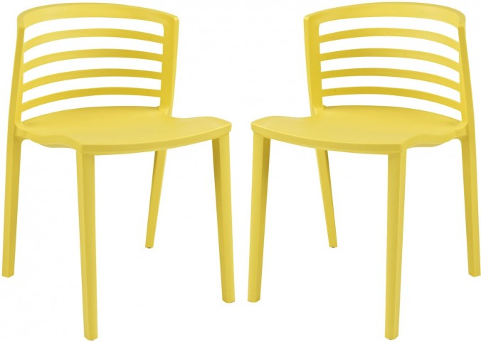 Curvy Yellow Dining Chairs Set of 2