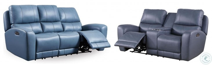 Cambria Blue Leather Bel Air Dual Power Reclining Console Loveseat