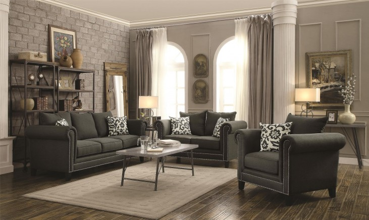 Emerson Charcoal Living Room Set