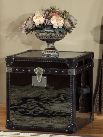 Olympic Black Stainless Leather Flip Top End Table