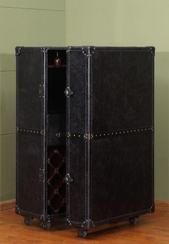 Meomi Black Leather Small Wine Cabinet